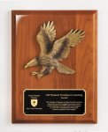 Walnut Piano Finish Plaque with Eagle Casting Relief Cast Plaques
