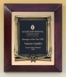 Cherry Finish Wood Frame Plaque with Wreath Relief Cast Plaques