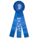 Best of Show - Classic Three Streamer Rosette Award Ribbon Rosette Ribbons - Three Streamer