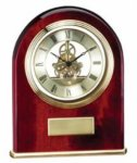 Arched Skeleton Rosewood Piano Finish Desk Clock Rosewood Clocks