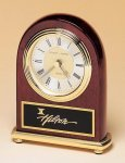Arched Rosewood Piano Finish Desk Clock on a Brass Base Rosewood Clocks