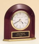 Arched Rosewood Piano Finish Desk Clock. Rosewood Clocks