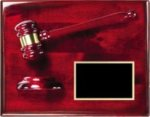 Rosewood Finish Plaque with Gavel and Sound Block Rosewood Finish Gavels and Plaques