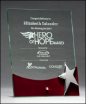 Clear Glass with Rosewood Accent and Silver Star Rosewood Glass Awards