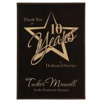 Leatherette Black/Gold Plate and Rosewood Piano Finish Plaque   Sales