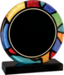 Round Stained Glass Acrylic with Black Base Sales