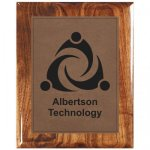 Leatherette Dark Brown Plate and Walnut Piano Finish Plaque Sales