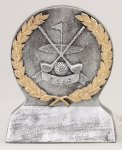 Nearest the Pin - Silver and Gold Resin Silver Sculpture Resin Awards