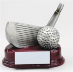 Silver Wedge and Golf Ball Silver Sculpture Resin Awards