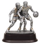 Basketball Double Action (Male) - Silver Sculpture Resin Silver Sculpture Resin Awards
