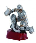 Hockey Goalie - Antique Silver Resin Trophy Silver Sculpture Resin Awards