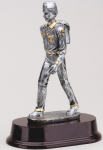 BOY SCOUT ON ROSEWOOD BASE Silver Sculpture Resin Awards