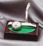 Putter and Golf Ball on Rosewood Base Silver Sculpture Resin Golf Awards