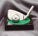 Wedge and Golf Ball on Rosewood Base Silver Sculpture Resin Golf Awards