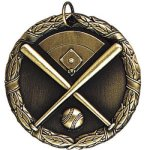 Baseball/Softball Crossed Bats - XR Medallion Softball Medals