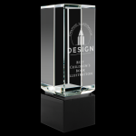Clear Crystal Block on Black Base Square Rectangle Awards