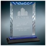 Blue Accent Rectangle Glass Award with Black Base    Square Rectangle Awards