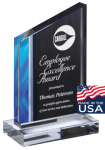 Deco Series Acrylic Award - Blue Flame Wedge Square Rectangle Awards