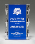 Freestanding Acrylic Award with Blue Background Square Rectangle Awards