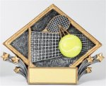 Tennis - Diamond Plate Resin Trophy Tennis and Racquetball Awards and Trophies