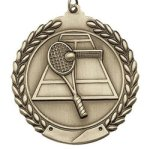 Tennis - Die Cast Wreath Medallion Tennis, Racquetball and Pickleball Awards and Trop