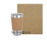Leatherette Portfolio and Tumbler - Light Brown Tumblers and Travel Mugs