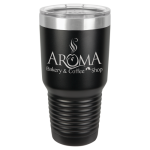 30 Oz Black & Silver Coated Ringneck Tumbler with Lid Tumblers and Travel Mugs