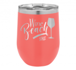 12 Oz Coral Coated Stemless Wine Glass   Tumblers and Travel Mugs