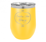 12 Oz Yellow Coated Stemless Wine Glass  Tumblers and Travel Mugs