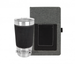 Leatherette and Canvas Portfolio and Tumbler - Black/Silver  Tumblers and Travel Mugs