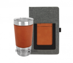 Leatherette and Canvas Portfolio and Tumbler - Gray/Rawhide Tumblers and Travel Mugs