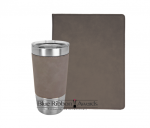 Leatherette Portfolio and Tumbler - Gray Tumblers and Travel Mugs
