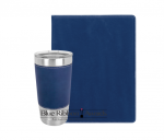 Leatherette Portfolio and Tumbler - Blue/Silver   Tumblers and Travel Mugs