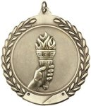 Victory Torch - Die Cast Wreath Medallion Victory Award Trophies