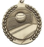 Volleyball - Die Cast Wreath Medallion Volleyball and Throwball Medals