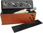 Laserable Leatherette Wine Box with Tools - Rawhide Wine Accessories
