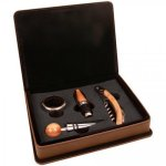 Laserable Leatherette 4-Piece Wine Tool Gift Set - Dark Brown Wine Accessories