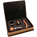 Laserable Leatherette 4-Piece Wine Tool Gift Set - Light Brown Wine Accessories