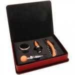 Laserable Leatherette 4-Piece Wine Tool Gift Set - Maroon/Rose' Wine Accessories