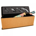 Cork Single Wine Box with Tools Wine Glasses and Gifts