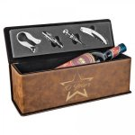 Laserable Leatherette Wine Box with Tools - Rustic/Gold Wine Glasses and Gifts
