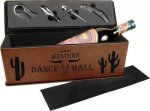Laserable Leatherette Wine Box with Tools - Dark Brown Wine Glasses and Gifts