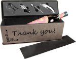 Laserable Leatherette Wine Box with Tools - Gray Wine Glasses and Gifts