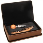 Laserable Leatherette 2-Piece Wine Tool Gift Set - Dark Brown Wine Glasses and Gifts