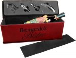 Laserable Leatherette Wine Box with Tools - Maroon/Rose' Wine Tool Sets