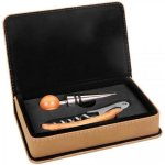 Laserable Leatherette 2-Piece Wine Tool Gift Set - Light Brown Wine Tool Sets